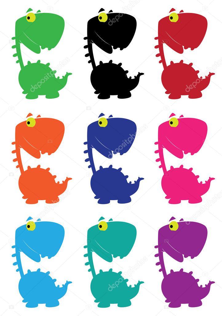 Dino color gracioso de dibujos animados — Vector de stock © Polkan ...