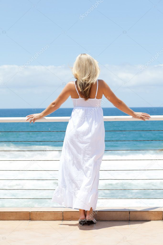 Young woman viewing seascape