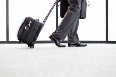 Businessman walking in airport
