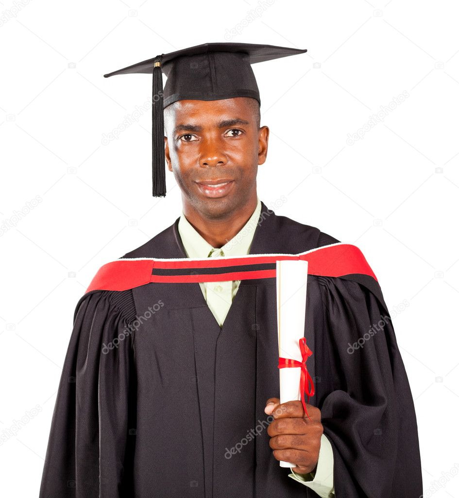 African american graduate in gown and cap — Stock Photo ...