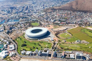 Aerial view of green point stadium, Cape Town