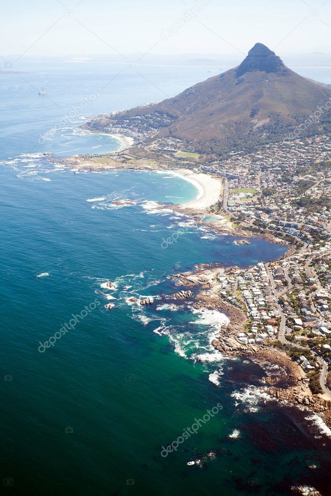 Overhead view of coast of South Africa
