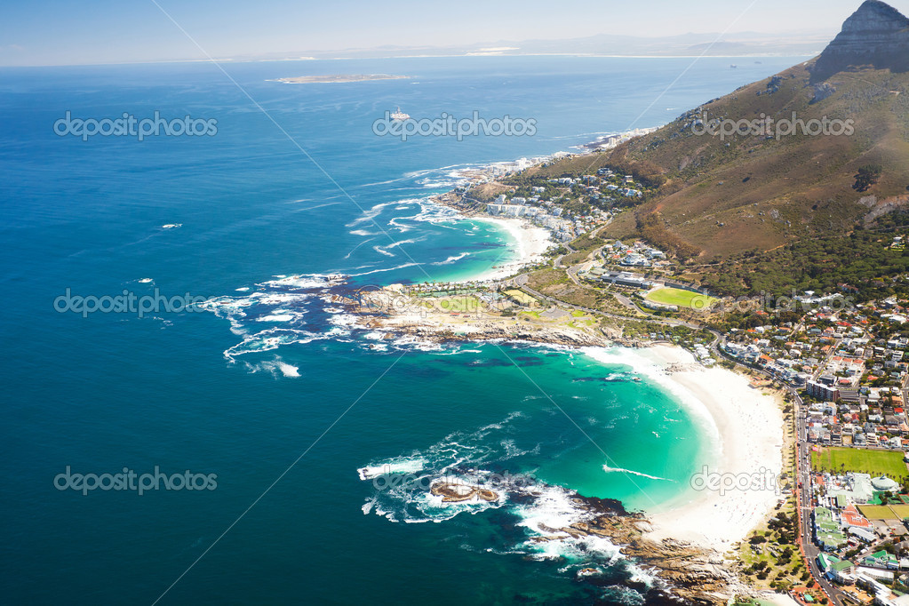 Aerial coastal view of Cape Town