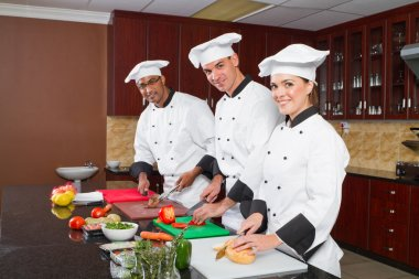 Professional chefs cooking in commercial kitchen