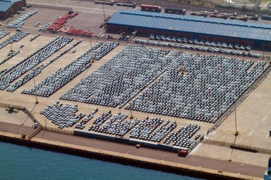 Automobiles parked at durban harbour, south africa