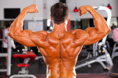 Rear view of bodybuilder