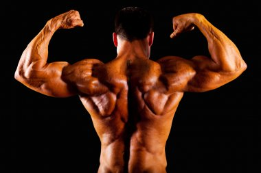 Rear view of bodybuilder