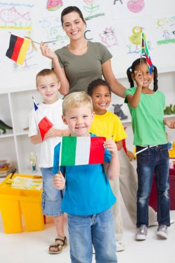 Group of preschool kids with flags