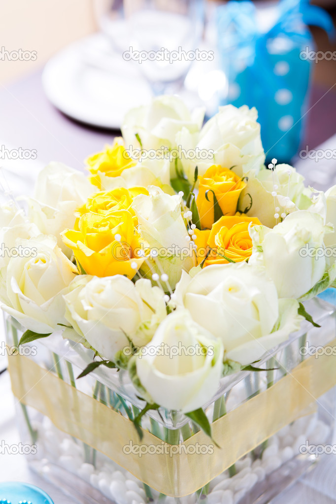 Closeup of wedding table centerpiece flowers