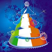 Vánoční motiv - vánoční strom s spirála stuhami v barvách národní vlajky