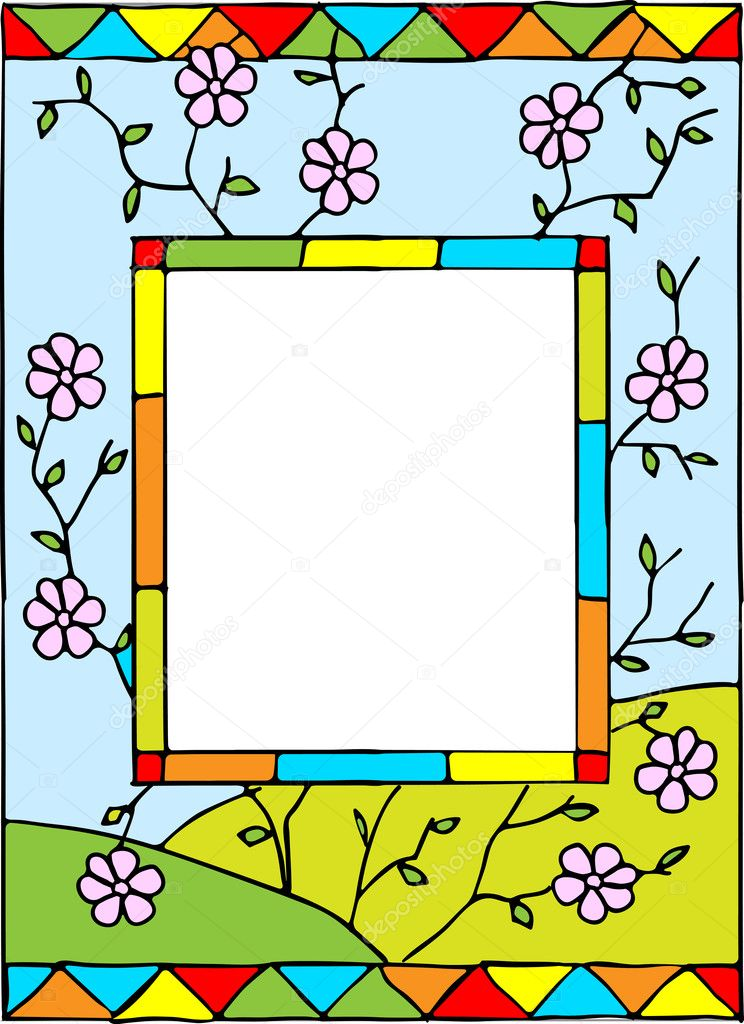Frame with spring flowers.
