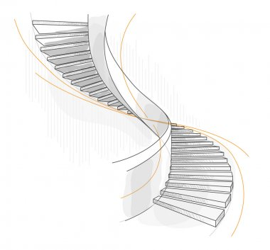 Sketch of a spiral staircase.