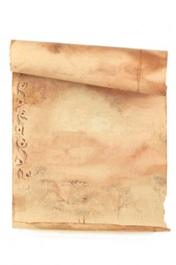 Grunge opened scroll of paper