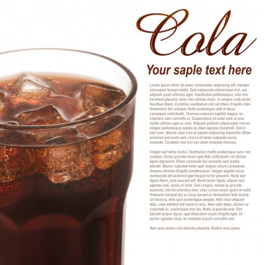 Glass of cola with ice cubes and text