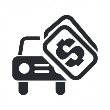 Vector illustration of single isolated car sale icon