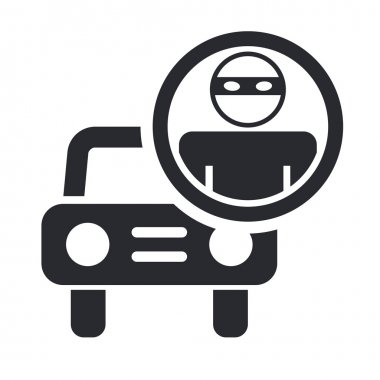 Vector illustration of single thief car icon