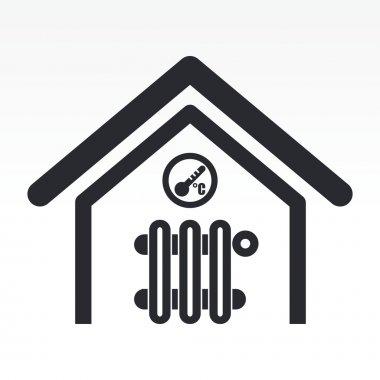 Vector illustration of single home temperature icon