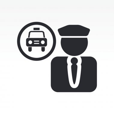 Vector illustration of single taxi driver icon