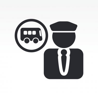 Vector illustration of single bus driver icon