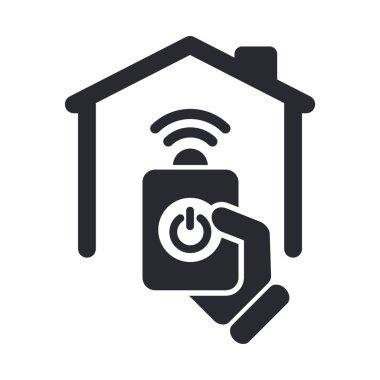 Vector illustration of single remote home icon
