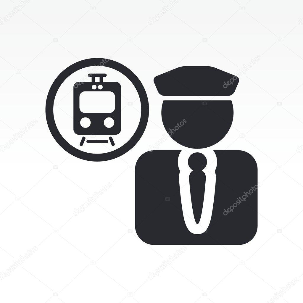 Vector illustration of single train conductor icon
