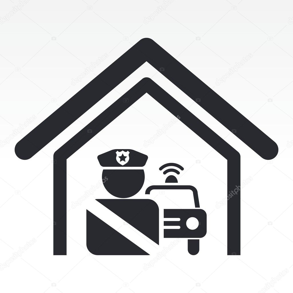 Vector Illustration Of Single Police Station Icon Stock Vector