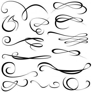 Calligraphic elements - black design elements, illustration stock vector