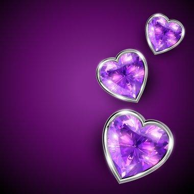 Shiny vector diamond shape heart illustration clip art vector