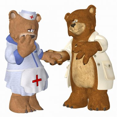 Doctor bear and nurse in love
