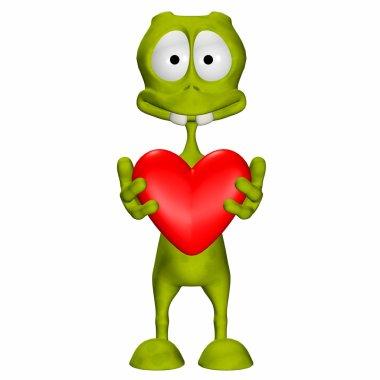 Green Alien In Love