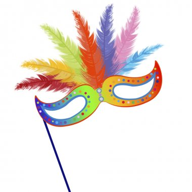 Colored mardi Grass mask with feathers