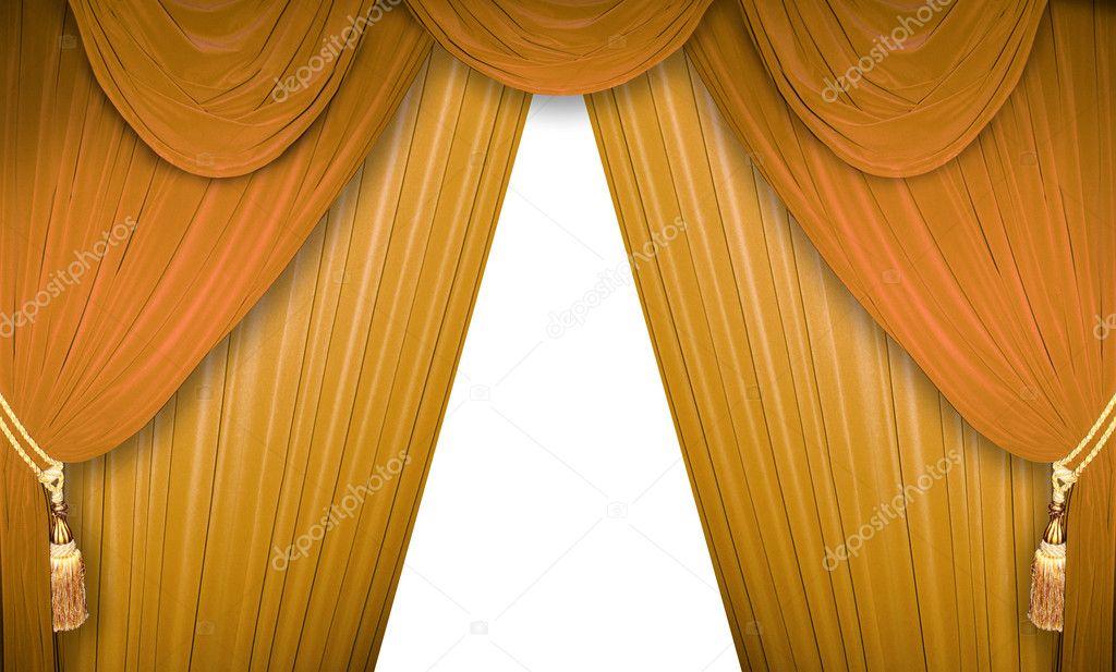 gouden gordijnen stockfoto