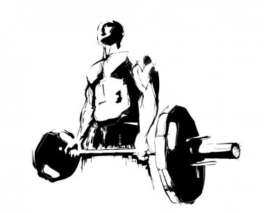 The illustration of the bodybuilder in the white background stock vector