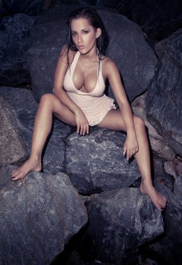 Beautiful Sexy Model On Rocks