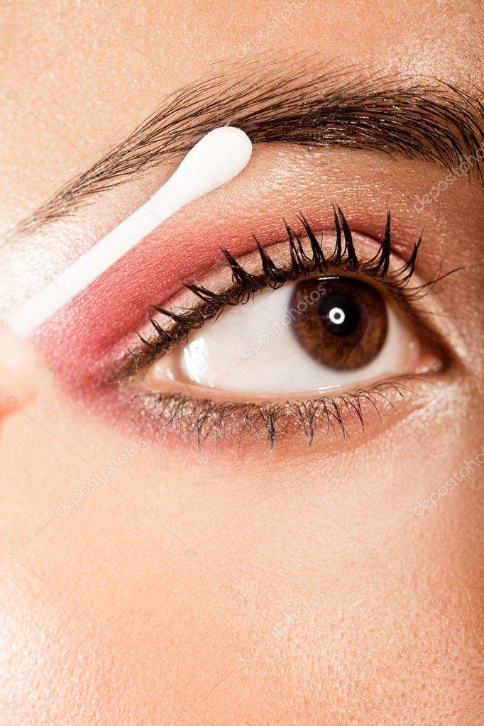 Applying Eye Makeup Eye Open — Stock Photo © nelka7812 #8362249