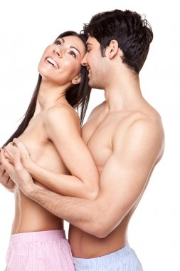 Laughing Topless Couple