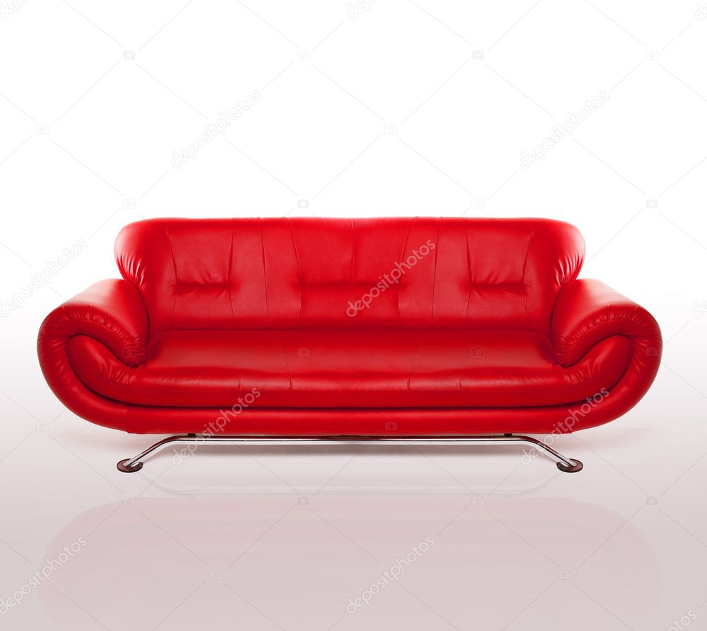 modern red leather couch u2014 stock photo