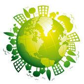 Fényképek zöld bolygó Föld. ökológiai fogalom. vektor ikon