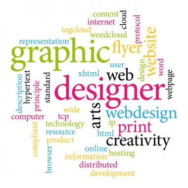 Graphic designer. Print concept word cloud.