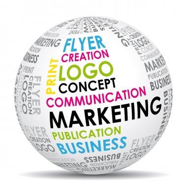 Marketing communication world. Vector icon.