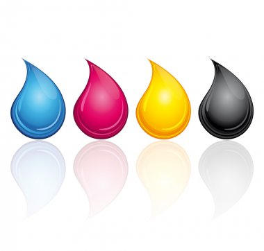 CMYK CMJN ink drops. Print concept vector illustration.