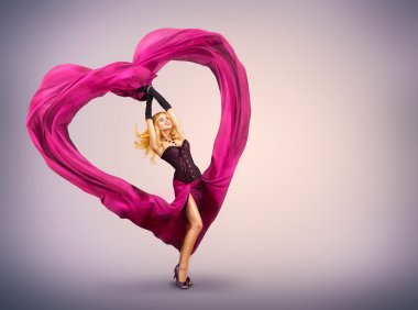 Sexy Beautiful Woman Dancing With Waving Fabric stock vector