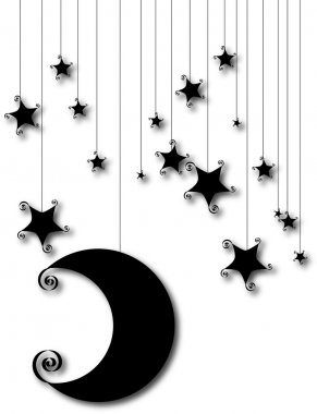 Cartoon moon and star silhouette isolated on white