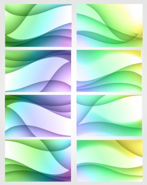 Set of eight bright backgrounds