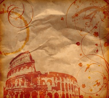 Grunge background with Colosseum