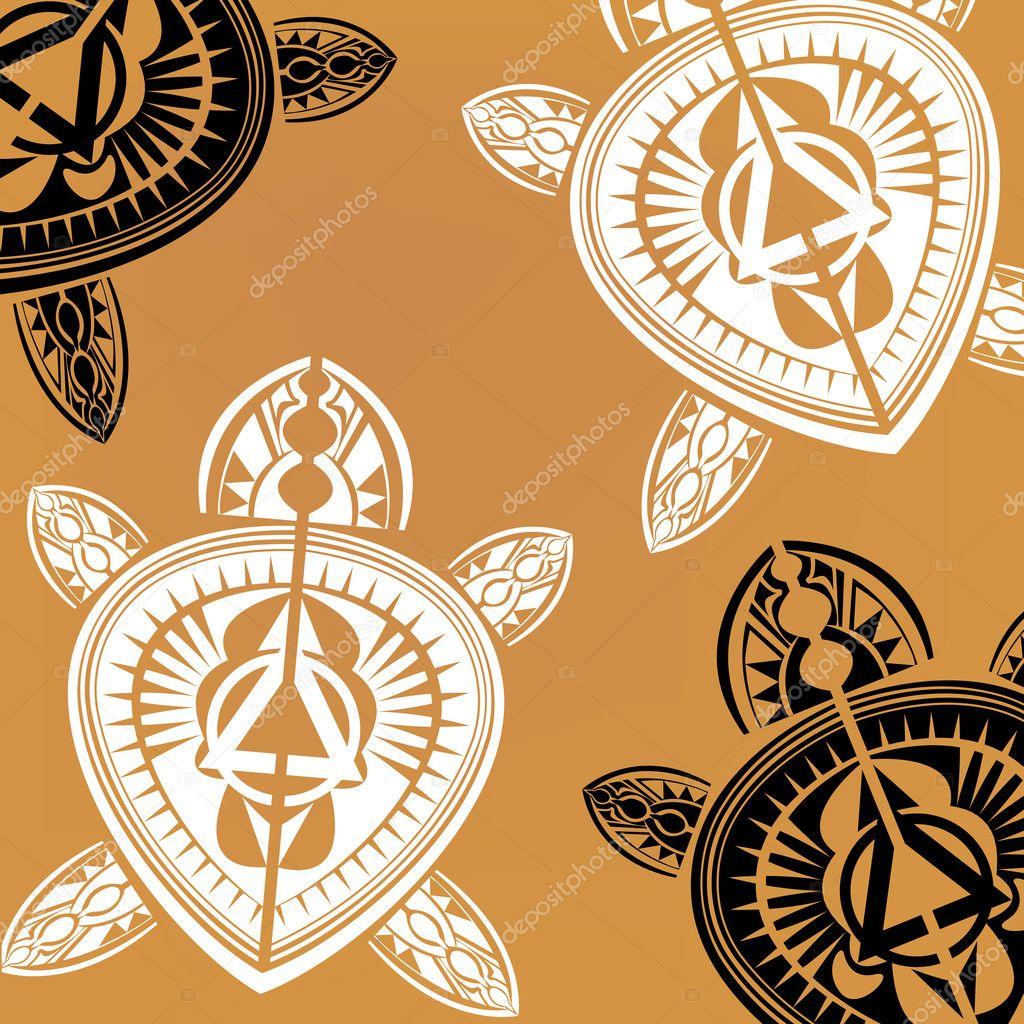 Polynesische Stijl Schildpad Tattoo Stockvector