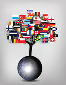 Fotografie Tree Flags with Earth Globe