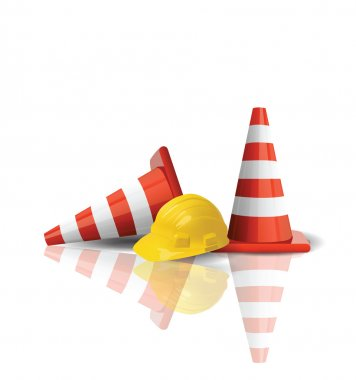 Hard cap with traffic cones isolated stock vector