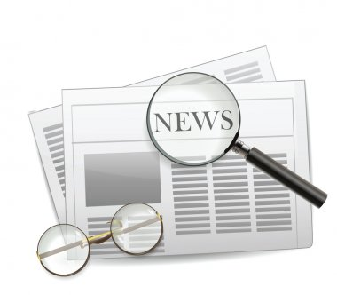 Newspaper with magnifying glass