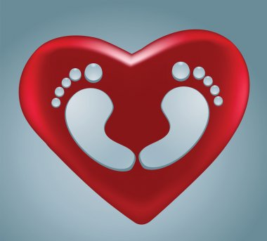 Water drops footprint in heart shape with red heart